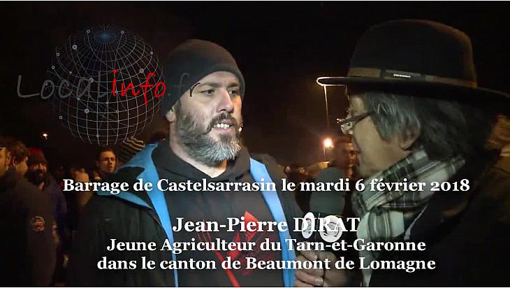 Jean-Marie DIRAT Jeune Agriculteurs du 82 touché par la Carte des Zones Défavorisées au micro de TvLocale à Castelsarrasin mercredi 6 février @FNSEA @tarnetgaronne_CG